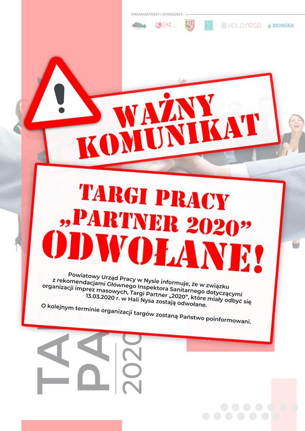 """Targi Pracy """"Partner 2020"""" odwołane!"""