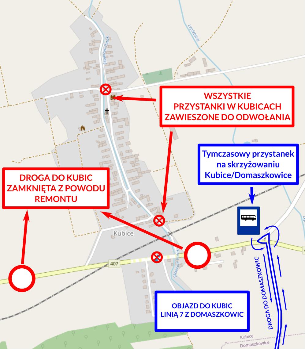 Zamknięta droga w Kubicach – zmiany w kursowaniu autobusów