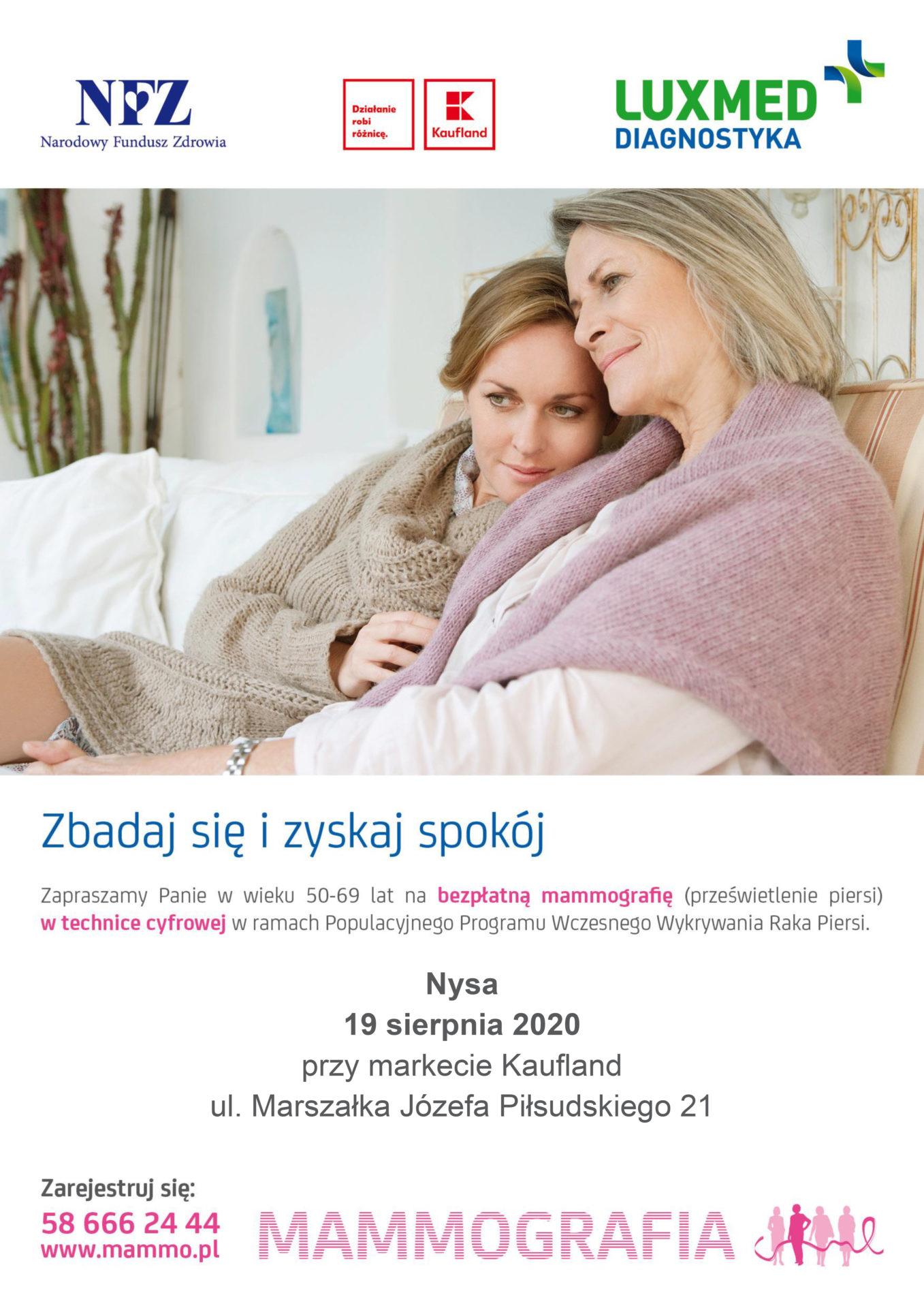 19 sierpnia bezpłatne badania mammograficzne