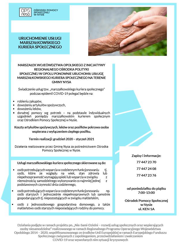 plakat - usługa marszałkowskiego kuriera społecznego.