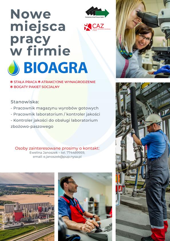 plakat - miejsca pracy w Bioagrze