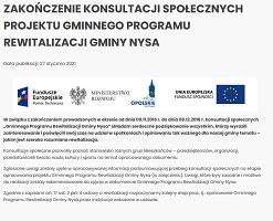 Zakończenie konsultacji społecznych projektu Gminnego Programu Rewitalizacji Gminy Nysa