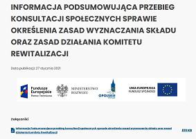 Informacja Podsumowująca przebieg konsultacji społecznych sprawie określenia zasad wyznaczania składu oraz zasad działania Komitetu Rewitalizacji