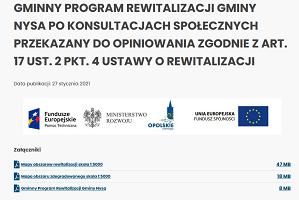 Gminny Program Rewitalizacji Gminy Nysa po konsultacjach społecznych przekazany do opiniowania zgodnie z art. 17 ust. 2 pkt. 4 ustawy o rewitalizacji