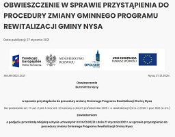 Obwieszczenie w sprawie przystąpienia do procedury zmiany Gminnego Programu Rewitalizacji Gminy Nysa