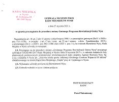 Uchwała Nr XXXIV/530/21 w sprawie przystąpienia do procedury zmiany Gminnego Programu Rewitalizacji Gminy Nysa