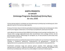 Karty projektów rewitalizacyjnych Gminnego Programu Rewitalizacji Nysy