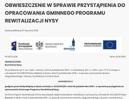 Obwieszczenie w sprawie przystąpienia do opracowania Gminnego Programu Rewitalizacji Nysy