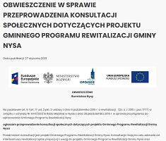 Obwieszczenie w sprawie przeprowadzenia konsultacji społecznych dotyczących projektu Gminnego Programu Rewitalizacji Gminy Nysa