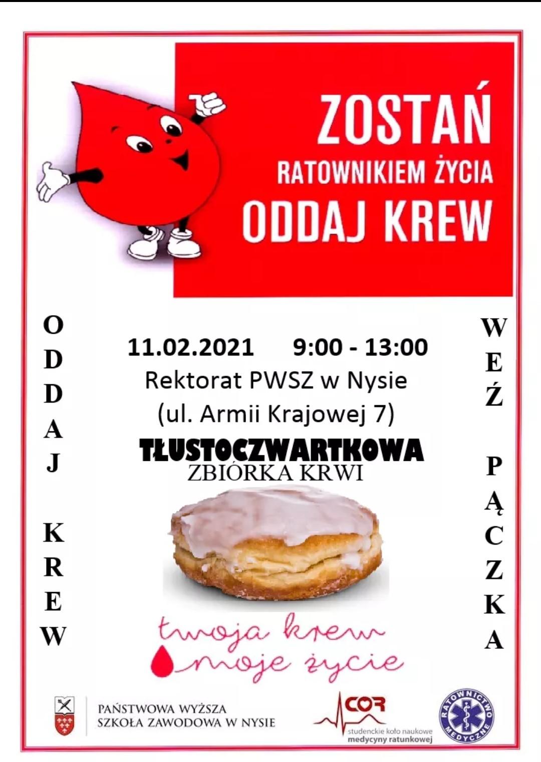 TAUSTOCZWARTKOWA ZBIÓRKA KRWI - Gmina Nysa