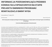 Informacja podsumowująca przebieg konsultacji społecznych na etapie projektu Gminnego Programu Rewitalizacji Gminy Nysa