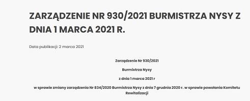 Zarządzenie Nr 930/2021 Burmistrza Nysy z dnia 1 marca 2021 r.