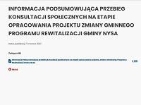 INFORMACJA PODSUMOWUJĄCA przebieg konsultacji społecznych na etapie opracowania projektu zmiany Gminnego Programu Rewitalizacji Gminy Nysa