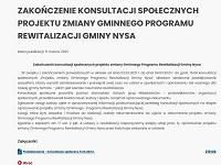 Zakończenie konsultacji społecznych projektu zmiany Gminnego Programu Rewitalizacji Gminy Nysa