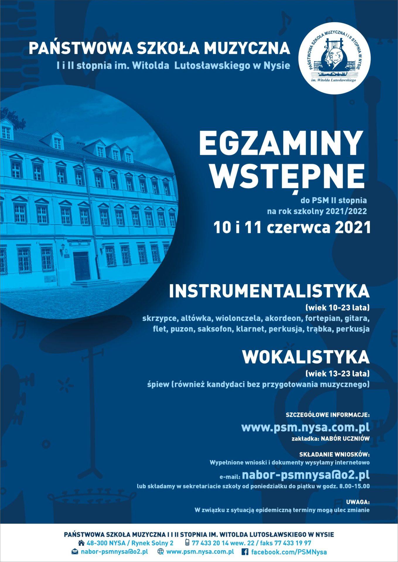 Nabór uczniów na rok szkolny 2021/2022 doPSM I i II stopnia im. Witolda LutosBawskiego w Nysie